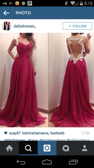 dress berry colored long dress backless dress