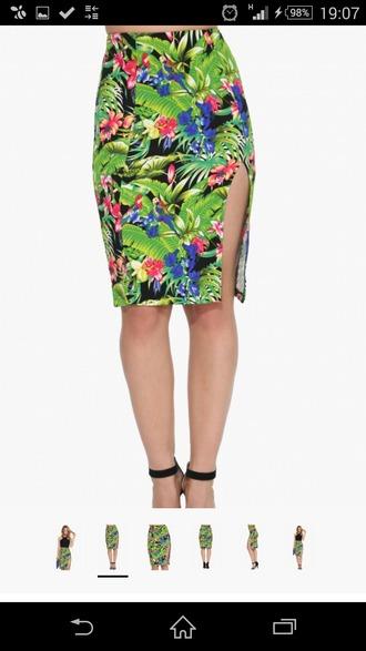 skirt hawaiian print pencil skirt skirts. green multi colored hawaii