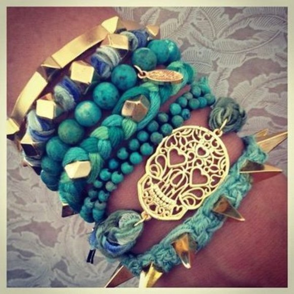 jewels bracelets turquoise jewelry arm candy teschio clothers set bracelets blue skull bracelets