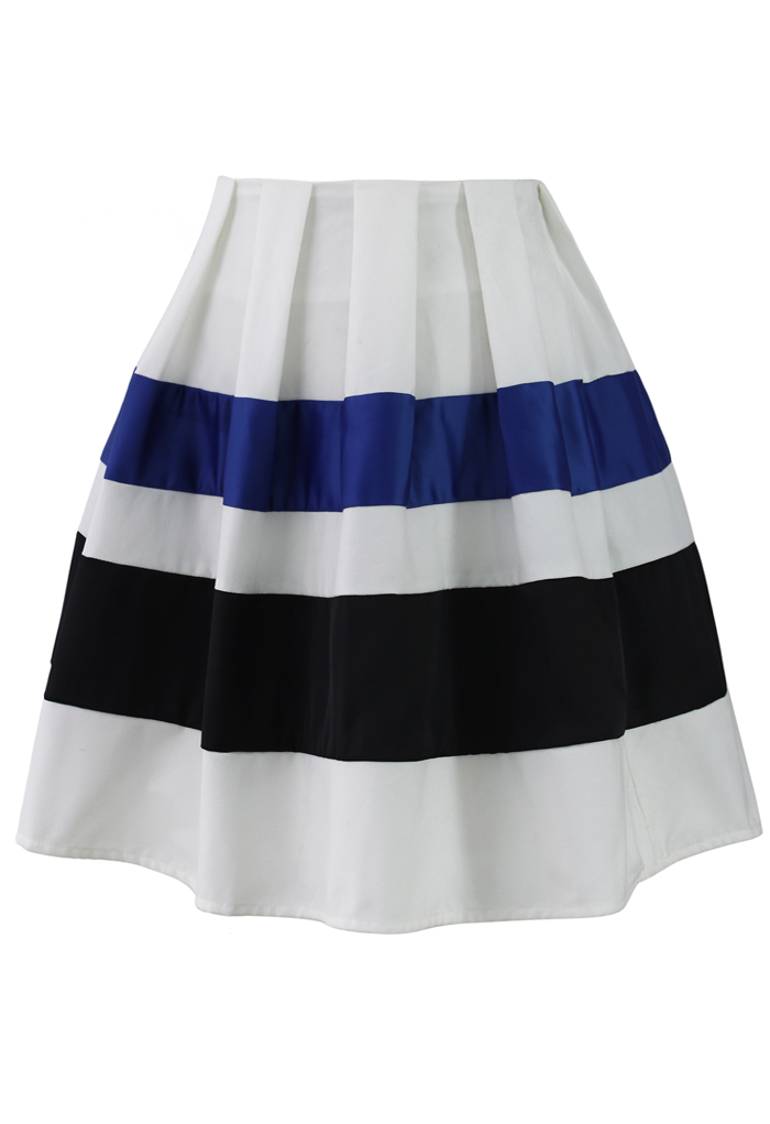 Ribbon Paneled Skater Skirt - Retro, Indie and Unique Fashion