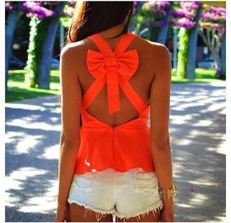 blouse top orange bow tank top bow back top bright orange
