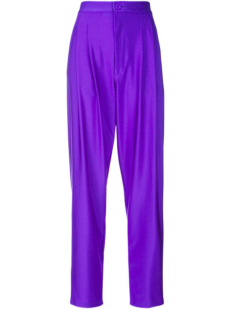 pleated women spandex purple pink pants
