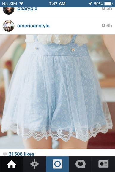 shorts lace shorts suspenders shorts baby blue flower print shorts with suspenders suspenders skirt