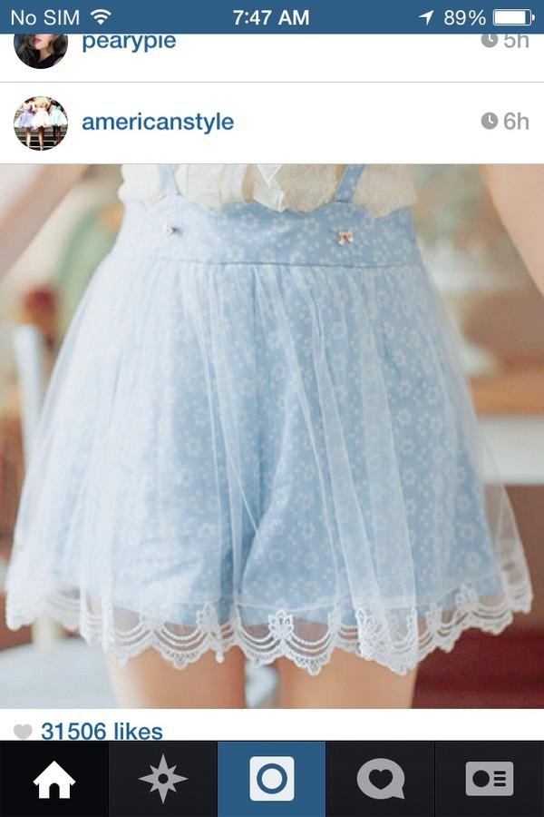 suspenders shorts baby blue shorts lace shorts floral shorts with suspenders suspenders skirt skirt with suspenders suspenders