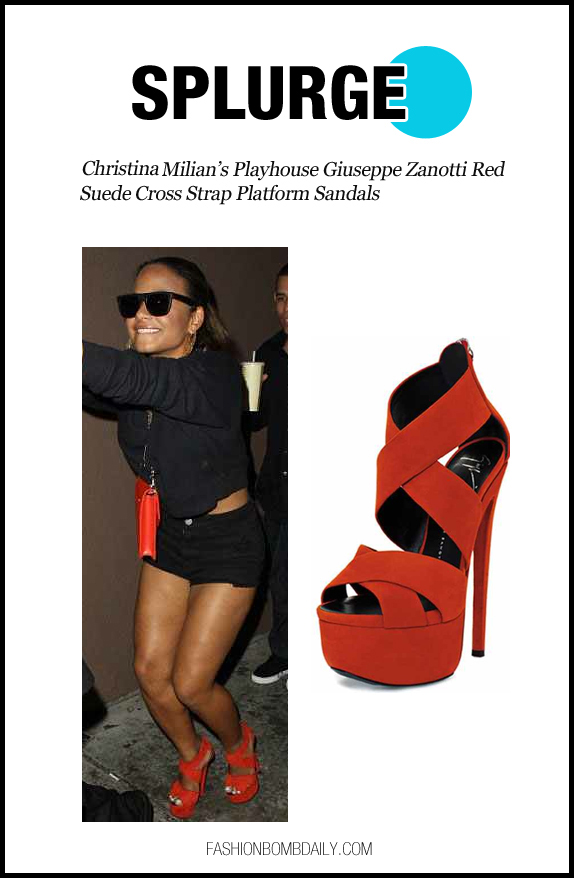 Splurge: Christina Milian's Playhouse Giuseppe Zanotti Red Suede Cross Strap Platform Sandals - The Fashion Bomb Blog : Celebrity Fashion, Fashion News, What To Wear, Runway Show Reviews