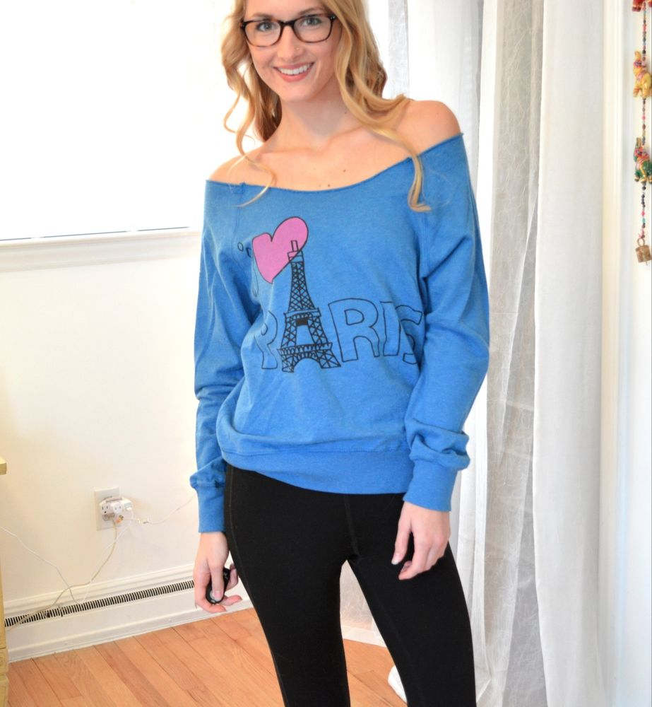 I heart Paris Blue Sweater Forever 21 Small Sm S Off Shoulder Long Sleeve Boho