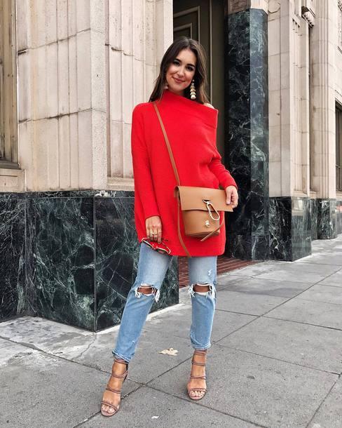 sweater tumblr red sweater denim jeans blue jeans ripped jeans sandals sandal heels high heel sandals bag nude bag