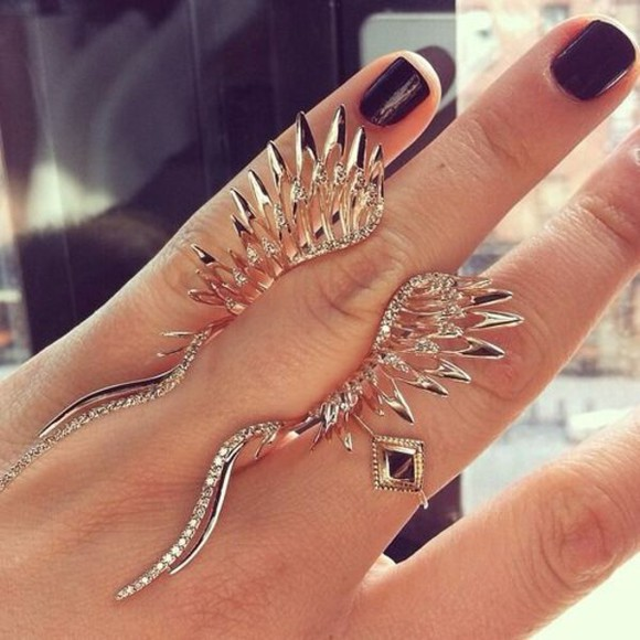 jewels ring silver fashion style gold wings