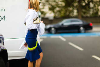 skirt fashion week street style fashion week 2016 fashion week london fashion week 2016 blue shirt blue skirt peplum asymmetrical skirt asymmetrical neon shirt white shirt bell sleeves long sleeves streetstyle fall outfits
