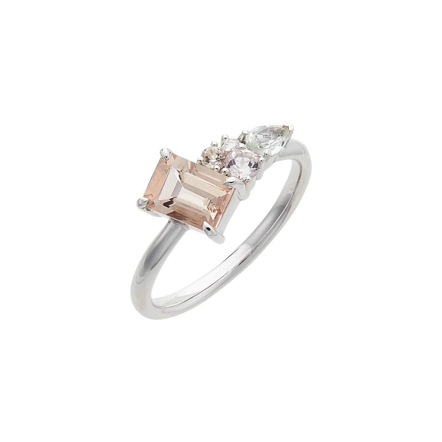 Italic Cluster Ring Peach White Gold