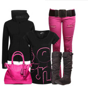 jeans,bench,ripped jeans,bag,shirt,belt,shoes,pink jeans,pink bag,black hoodie,pants,pink pants