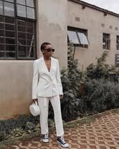 jacket,white blazer,high top converse,sneakers,white pants,handbag,black sunglasses