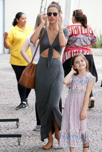dress maxi dress summer dress grey alessandra ambrosio