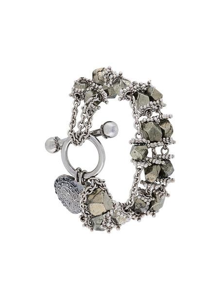 beaded bracelet heart metal women beaded grey metallic jewels