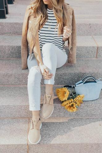 thefashionhour blogger shoes bag sneakers striped top handbag spring outfits jeans