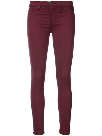 jeans skinny jeans women cotton red