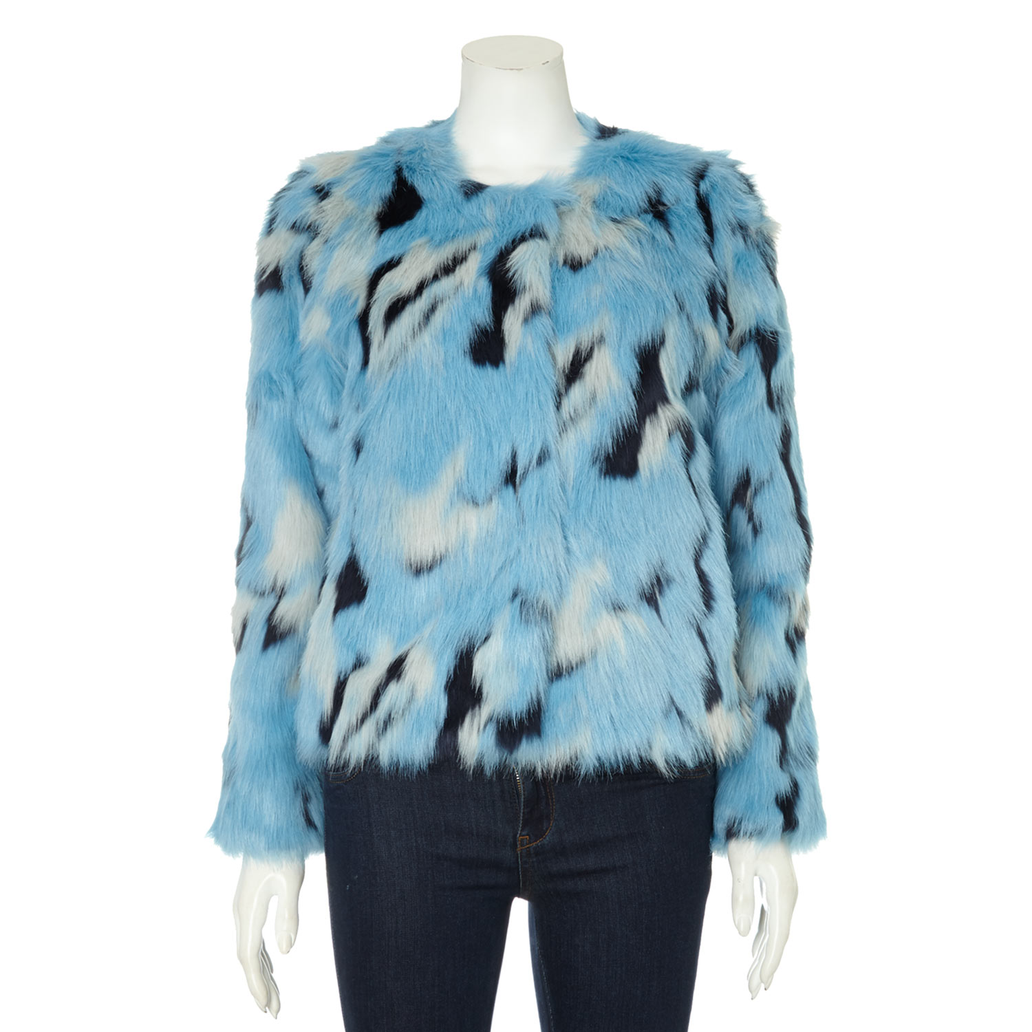 Cape daisy blue faux fur jacket