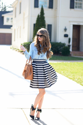 southern curls and pearls,blogger,striped skirt,denim shirt,top,skirt,sunglasses,bag,jewels,shoes,make-up