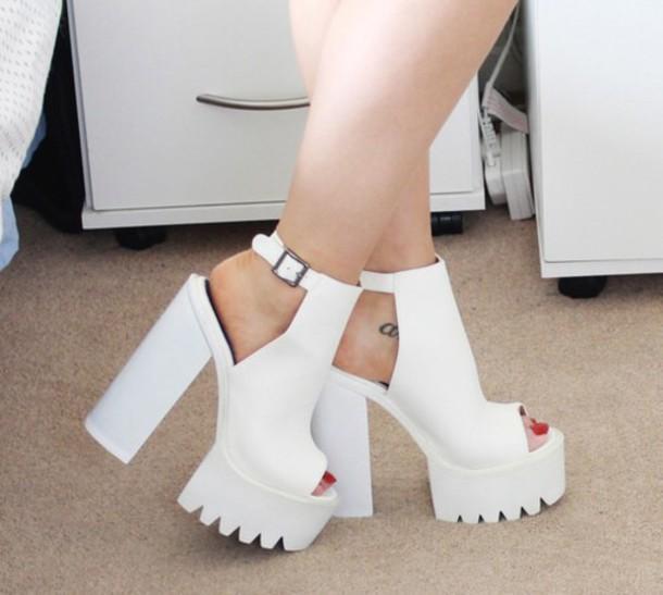white platforms, white shoes, white