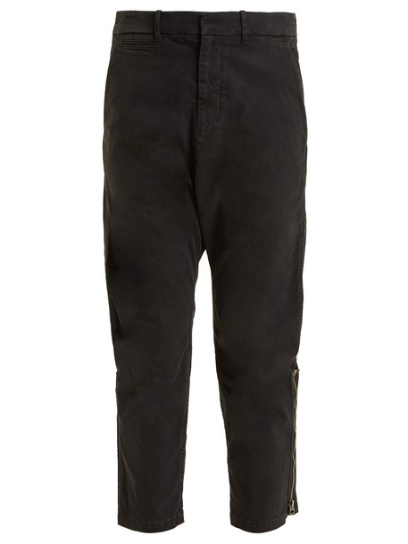 cropped cotton black pants