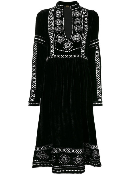 Dodo Bar Or dress slit dress women slit embellished black silk