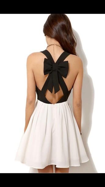 dress black white short dress