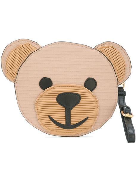 bear women clutch leather brown bag