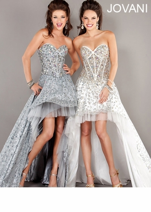 Jovani 2013 Off White and Navy Strapless Sweetheart Corset High Low Prom Gown 6760 | Promgirl.net