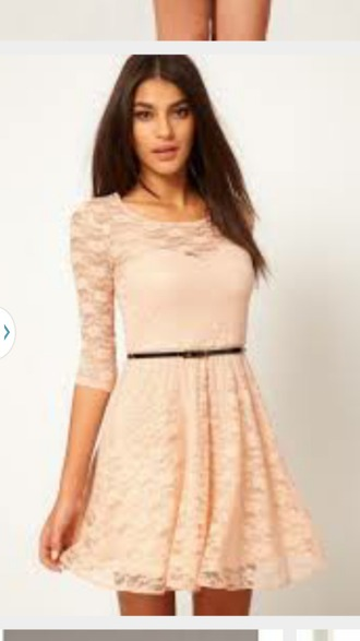 dress pink dress lace dress long sleeves