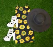 sunflower print,tractor heels,mini dress,flowerpower,platform shoes,floppy hat,dress
