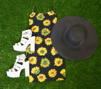 sunflower print tractor heels mini dress flowerpower platform shoes floppy hat dress