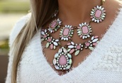 jewels,necklace,silver,cristal necklace,pink,top,sweater,white top,girly,cristal,pearl
