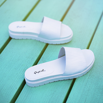 shoes qupid sandals white sandals all white everything flatforms open toes slip-on slippers zooshoo summer