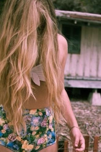 swimwear white bikini top high waisted bikini floral bikini long hair gorgeous bikini