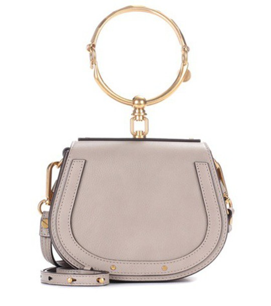 Chloé Small Nile leather and suede shoulder bag in grey