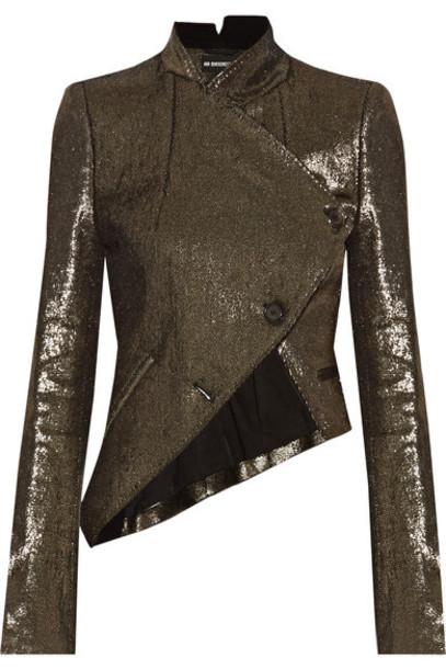 Ann Demeulemeester - Asymmetric Metallic Linen-blend Jacket - Gold