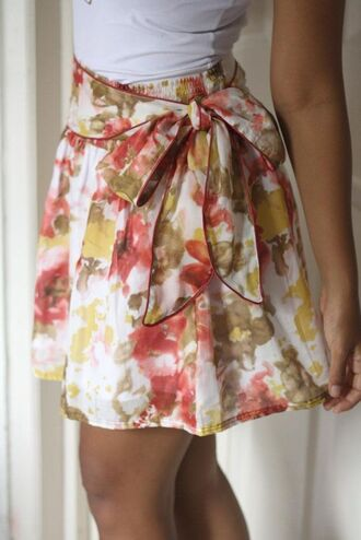 skirt floral skirt flowers summer unique bow