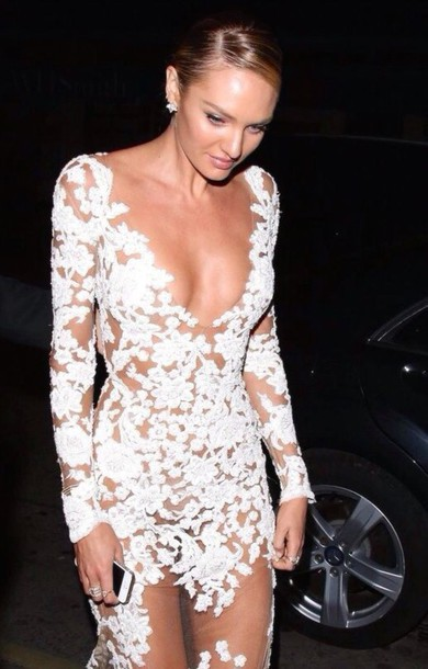 dress white dress lace dress floral dress see through dress lace white mesh candice swanepoel