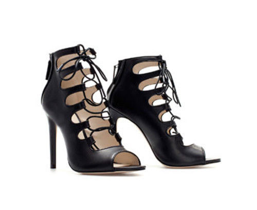 Open Toe Strappy Gladiator Lace Up Stiletto Heel Booties Pump ...