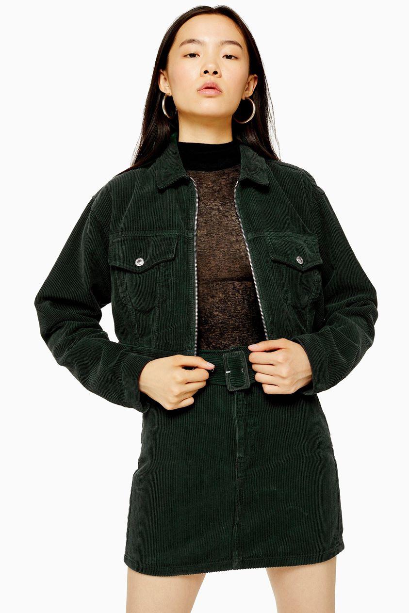 Womens Green Zip Through Corduroy Jacket - Green