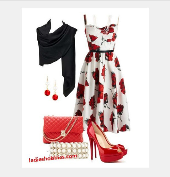 dress clothes summer dress outfit bag high heels floral dress medium dress purse earrings spaghetti strap sweetheart neckline shawl scarf clutch red heels peep toe heels red and white dress