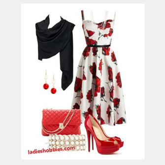 scarf outfit earrings clothes dress bag high heels purse medium dress floral dress summer dress spaghetti strap sweetheart neckline shawl clutch red heels peep toe heels red and white dress scarf red