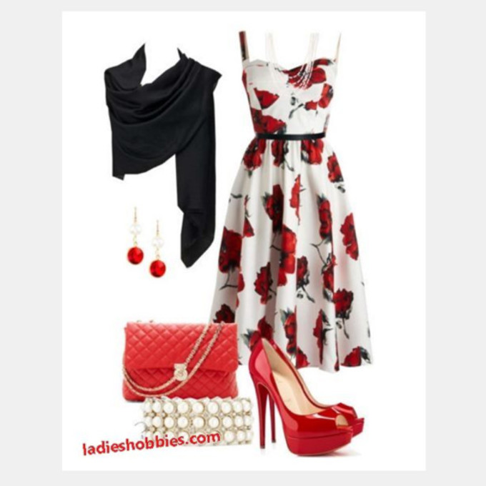 outfit scarf earrings clothes dress bag high heels purse medium dress floral dress summer dress spaghetti strap sweetheart neckline shawl clutch red heels peep toe heels red and white dress scarf red