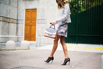 skirt blazer print dots print mini skirt colorful purple white