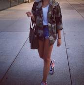 jacket,fashion,girl,camouflage,camo jacket,shorts,High waisted shorts,air max,shoes