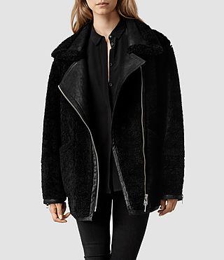 Womens Alford Leather Biker Jacket (Deep Burgundy) | ALLSAINTS.com