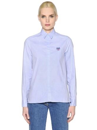 shirt embroidered tiger cotton light blue light blue top