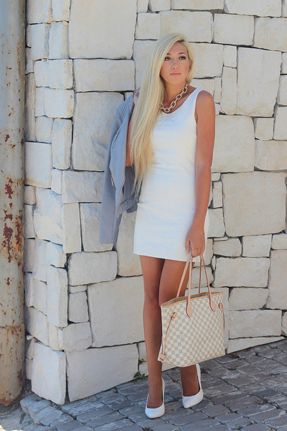 superficial girls blogger white dress tote bag jacket dress bag shoes jewels