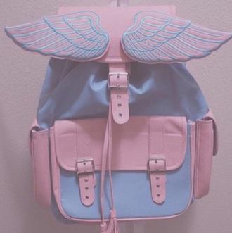 bag soft pink blue wings