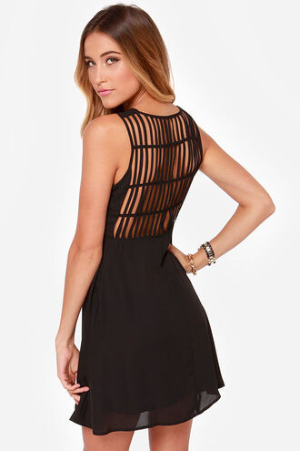 dress bqueen fashion girl chic black bodycon lovely sexy waist back hollow cage-like woven strip